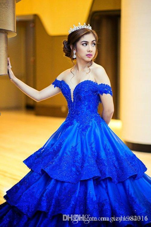 Charming Four Layers Wedding Dresses Maktumang Royal Blue Beaded Lace Appliques Satin Wedding Gown Fashion Middle-East Pretty Bridal Dress