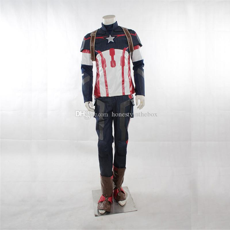 Halloween Adult Size Long Sleeve Superhero Age of Ultro Captain America Cosplay Costumes Steve Rogers Outfits Superhero Costumes