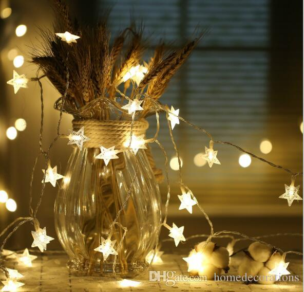 6m 40 led3m 20led five pointed star shape twinkle string light battery operated fairy lights party wedding christmas garland decorations star shape string
