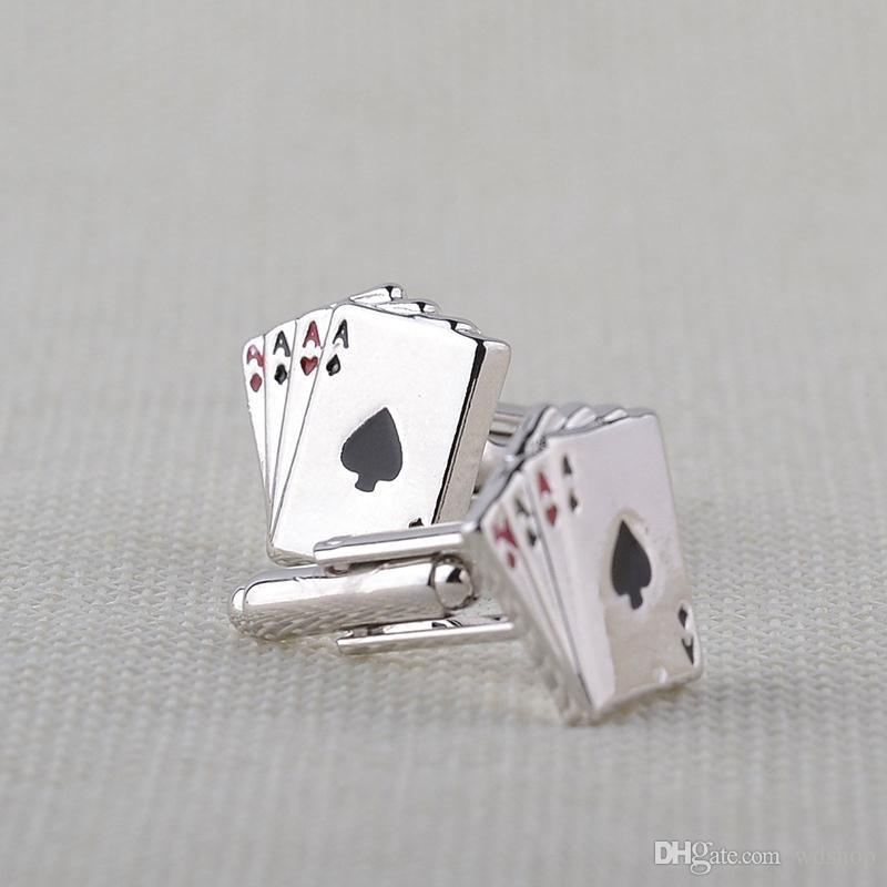 Poker Ace Manschettenknöpfe Für Herrenhemd Schmuck Zubehör Hochzeit Silber Farbe Manschettenknöpfe Knöpfe Für Poker Enthusiasten Geschenk