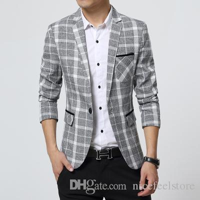 M 3xl 2016 Spring Plaid Blazer Men Cotton Unique Mens Blazers Mens ...