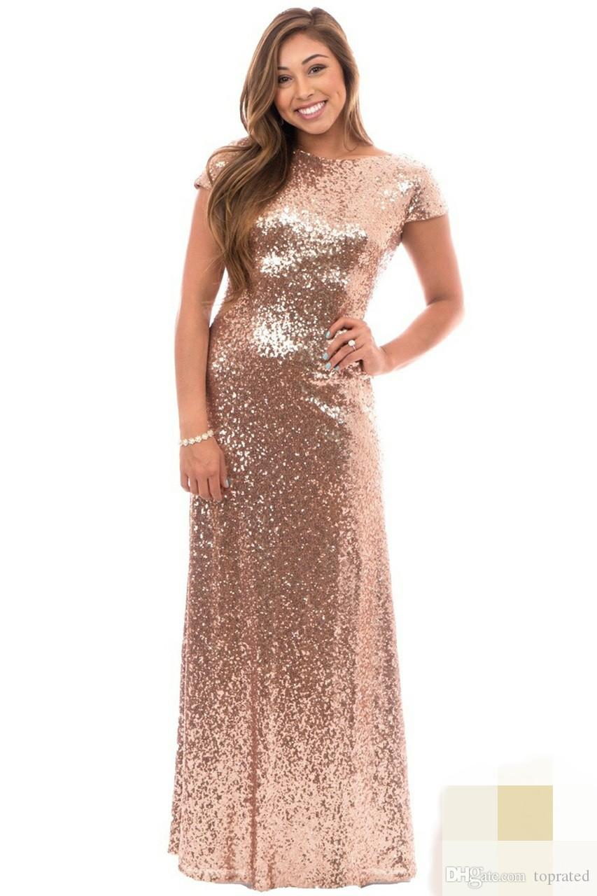 Rose Gold Plus Size Long Bridesmaid Dresses with Short Sleeve Ruffles Open Back 2019 Wedding Guest Evening Gowns Maid of Honor Formal Wear