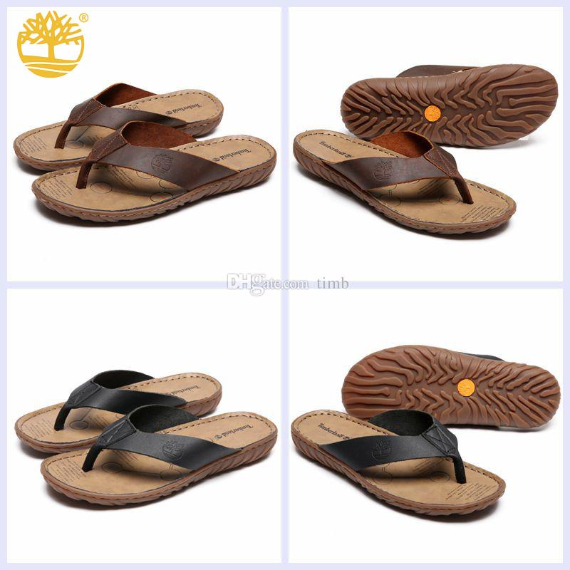 89a822774af670 Original Timberland Leather Thong Sandal For Men Flip Flops Rubber Sole  Slip Resistant Outdoor Beach Slippers Fashion Slides Slipper Shoes Mid Calf  Boots ...