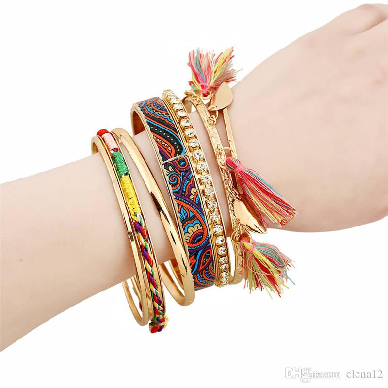 2017 New Fashion Multilayer Rhinestone crystal Tassel Friendship Bracelet Bangle Magnetic Jewelry for Women maxi statement 162253