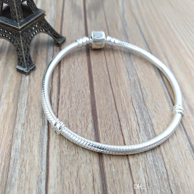 Autentico 925 argento sterling Stirling Bracciale in argento adatti perline europee di charms gioielli in stile Pandora 590702HV