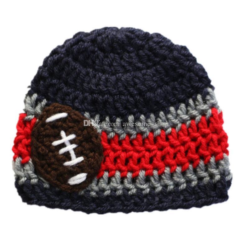 Handmade Crochet Baby Boy Girl Striped Football Team Hat Kids Winter Hat Fans Beanie Infant Toddler Photo Prop