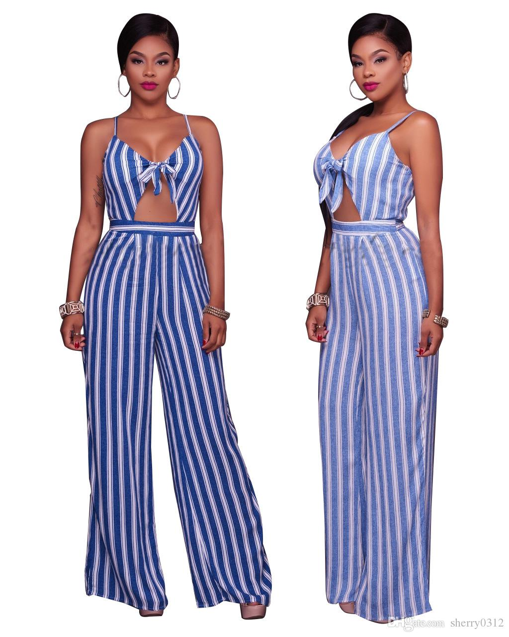 940d305b587 2019 2017 Summer Sexy Women Spaghetti Strap Backless Striped Print Casual  Tunic Beach Jumpsuit Romper Overalls Macacao Feminino Bust Bow Playsuit From  ...