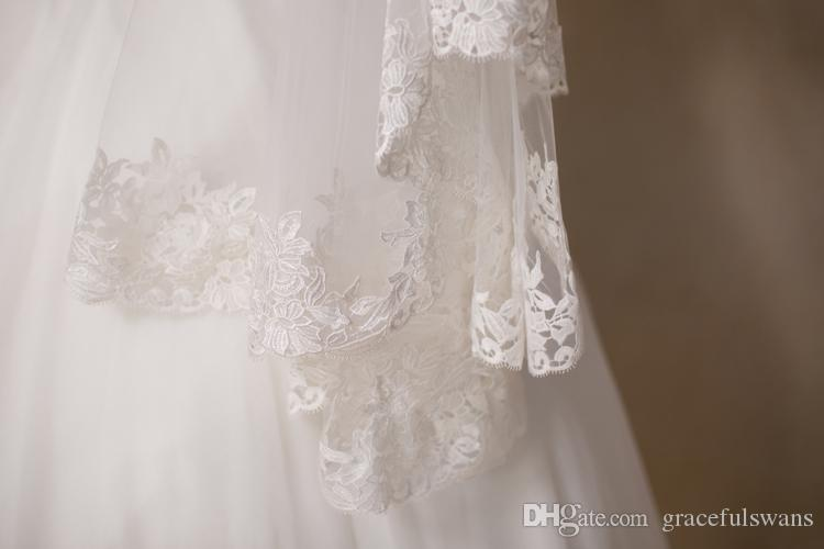 Wedding Accessories Decoration 1.5M Bridal Veils Ivory Wedding Veil Lace Edge Velos De Novia Long Church Veil
