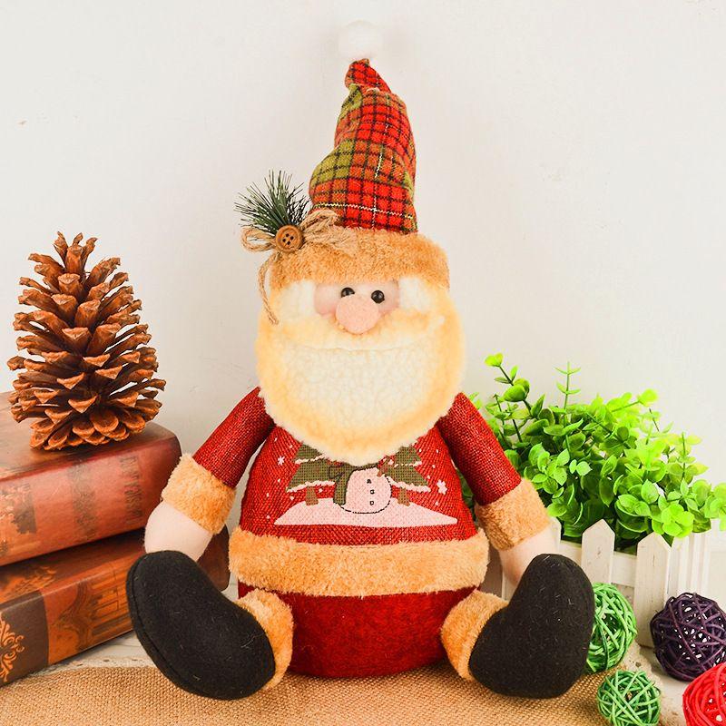 lovely 28cm big christmas ornaments sitting plump santa claussnowman plush doll christmas decorations for home xmas tree a christmas decoration all