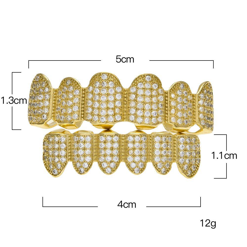 Kadın Erkek Gerçek Altın Kaplama Kakma Mikro Lüks Zirkon Üst Alt Altın Grillz Elmas Dentin Diş Set Çevre Güvenliği Aksesuarları