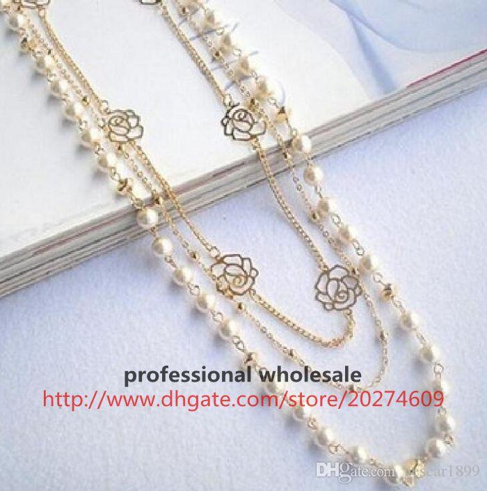 Hot New Arrival Fashion Style Multi Layer Alloy Pearl Rose Pendant Necklace Sweater Chain Jewelry Gift