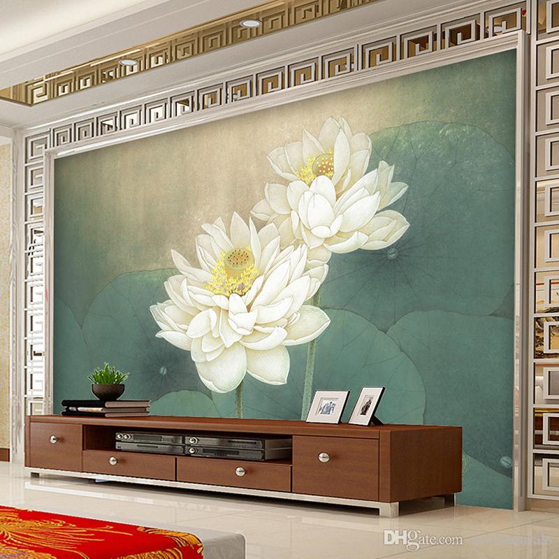 Large Custom Wall Mural Wallpaper Lotus Painting Living Room Sofa Tv  Background Restaurant Home Decor Wallmurals Wallpaper Custom Size High Res  Wallpaper ...