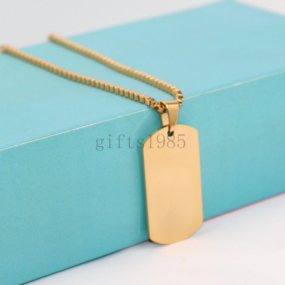 Очаровательная нержавеющая сталь серебро золото черный ювелирные изделия мужская собака тег кулон ожерелье 24 дюймов коробка цепи