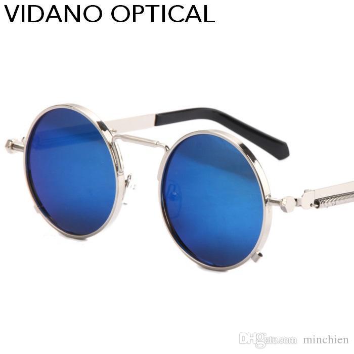58f500d29b2f0 Compre Vidano Óptica Mais Recente Dos Homens Óculos De Sol Revestimento  Polarizada Óculos De Sol Redondo Círculo Óculos De Sol Retro Vintage Gafas  Masculino ...