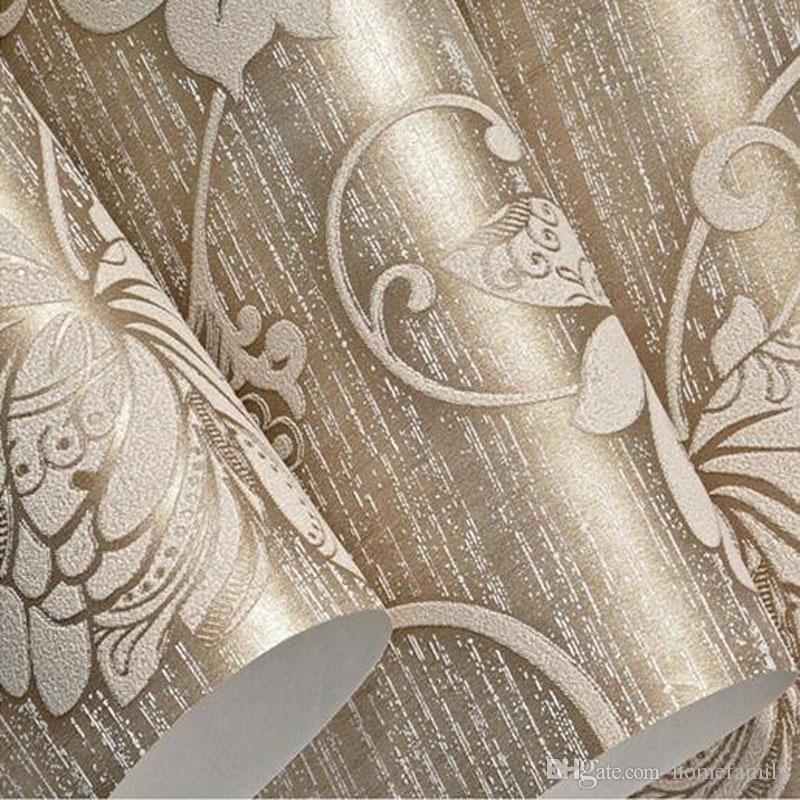 Wholesale Top Quality Fabric Mural Paper Flocking Wallpapers Luxury Non Woven Wallpapers 3d embossed damask Damascus wallpaper