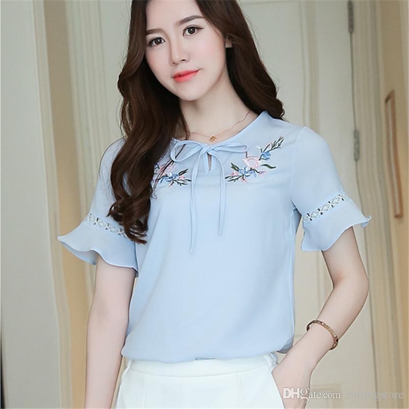 84b43177d558 Women Blouse Shirts Chiffon Short Butterfly Sleeve Shirt Woman