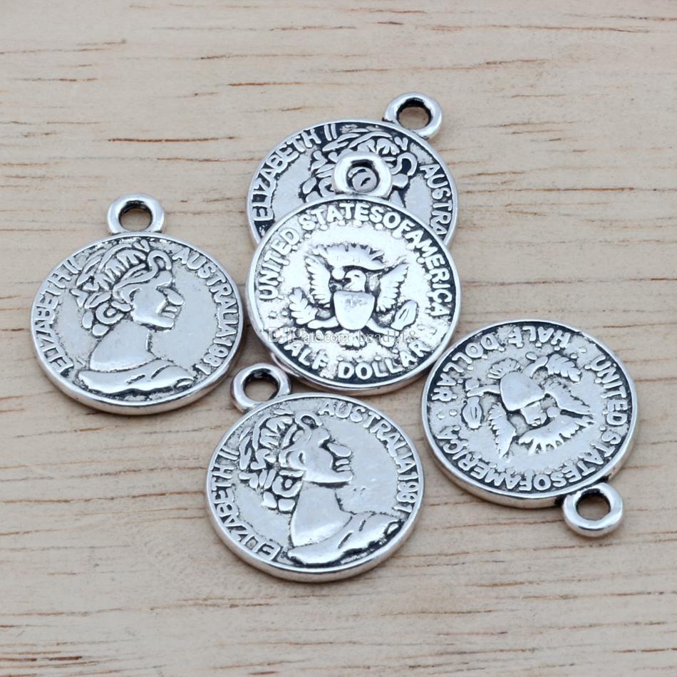 MIC Antique silver Alloy Australian Elizabeth Coin Charms Pendant DIY Jewelry 16x19.5mm Antique silver