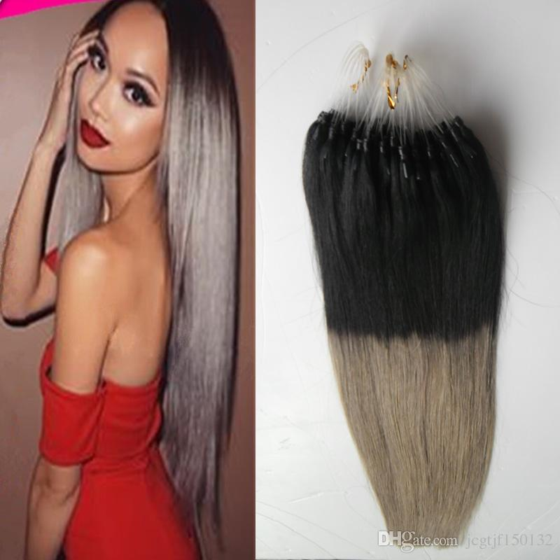 T1bgray ombre micro loop hair extensions 100s straight micro link t1bgray ombre micro loop hair extensions 100s straight micro link hair extensions human 100g micro bead hair extensions micro bead micro ring hair pmusecretfo Image collections