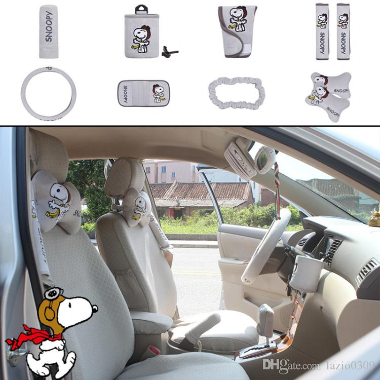 unit Auto Accessories Snoopy Gray Car Upholstery Steering Wheel ...