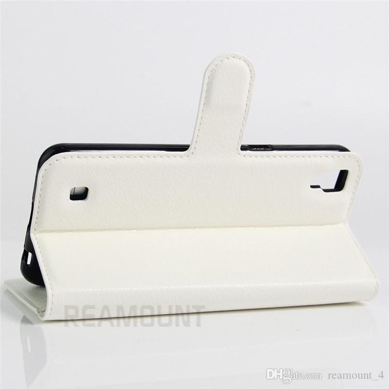 Toptan Yüksek Sınıf Cüzdan Kılıf LG X POWER Flip Kapak PU Deri LG K10 Için Cep Telefonu Kılıfları Standı