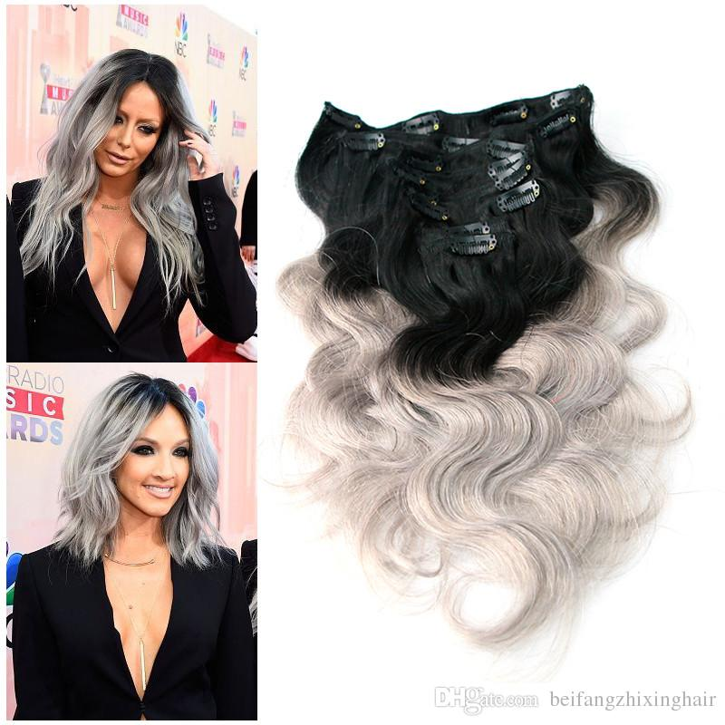 7a Top Ombre Clip In Hair Extensions 2 Tone 1bsilver Grey 100g