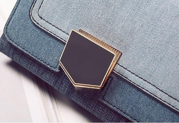 2017. Verrouiller la prise. Petit. Mini Nouveau motif Sac casual mode Denim Chaîne en métal Sacs Femme Fille. Cross Body.Shoulder Bags. Doux.