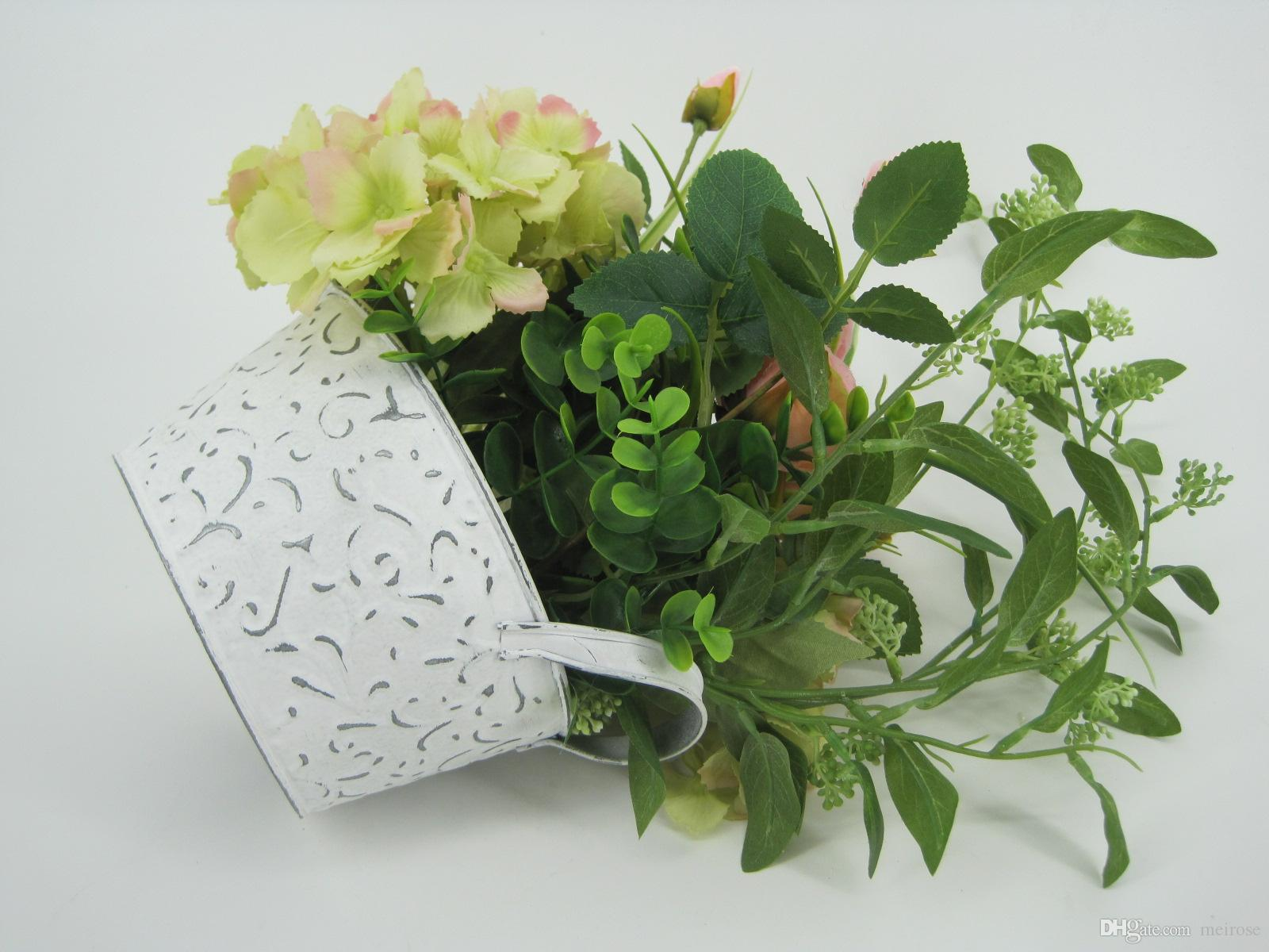 Artificial Plants With Galvanized Plate Pots Table Flower White Washed Potted plant for Wedding Holiday Special days Home Decor 125 -1003