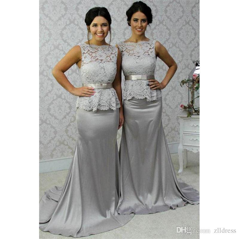 e87d718b88 Silver Bridesmaids Dresses 2017 Sheer Mermaid Long Maid Of Honor Gowns  Wholesales Vestidos Dama De Honor 2016 Largo Guest Wedding Dresses Jr  Bridesmaid ...