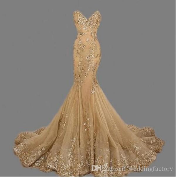 スタンイングマーメイドゴールドウエディングドレススパンコールレースアップイブニングドレス本物のサンプルロングパーティードレス