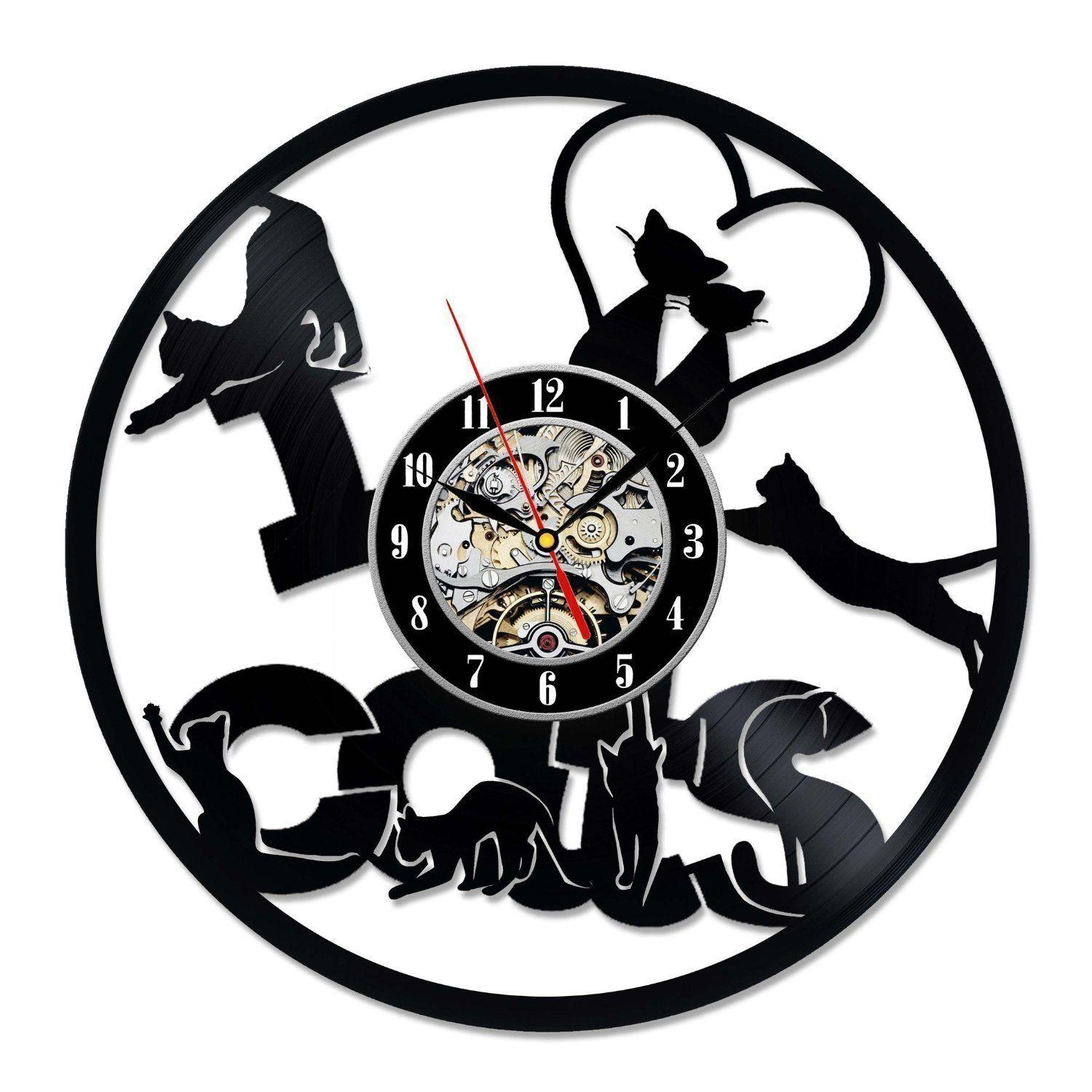 Little Cats Love Vinyl Record Wall Clock Decorate Your Home With