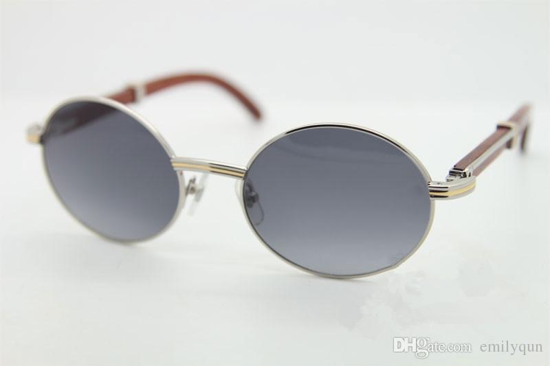 Gafas de sol famosas de la marca Marco de metal Gafas de sol de madera Gafas de sol retro redondas 7550178 Gafas de sol de diseñador más grande 57 mm con Estuche original