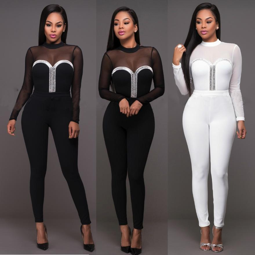 b3a4566304ee 2019 Wholesale 2017 New Fashion Mesh Patchwork Rompers Womens Jumpsuit  Outfits Long Sleeve Women See Through Sexy Jumpsuit Combinaison Femme From  Dalivid