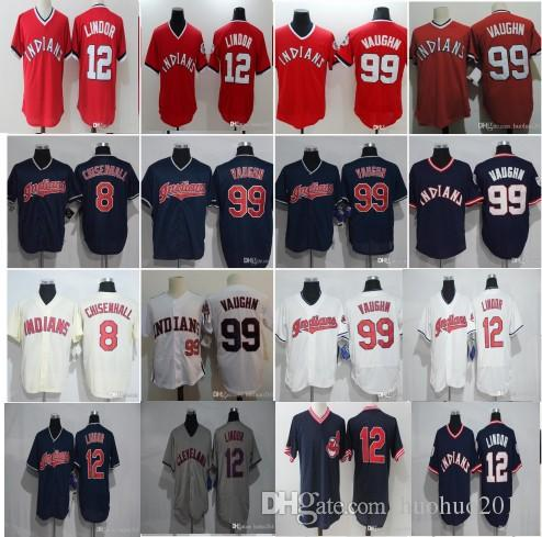 c23e9aaa6 ... 2017 Mens Cleveland Indians Jerseys 12 Francisco Lindor 99 Ricky Vaughn  8 Lonnie Chisenhall Flex Base ...