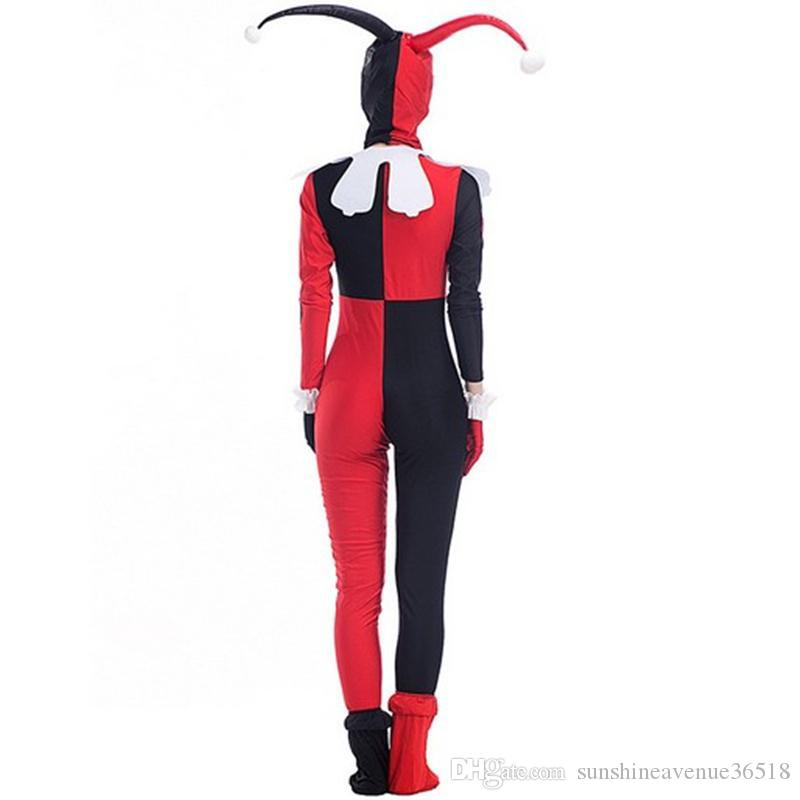 2017 New Arrival Harley Quinn Costumes Cartoon Circus Clown Jumpsuit Cosplay Halloween Theme Party Clothing Hot Selling