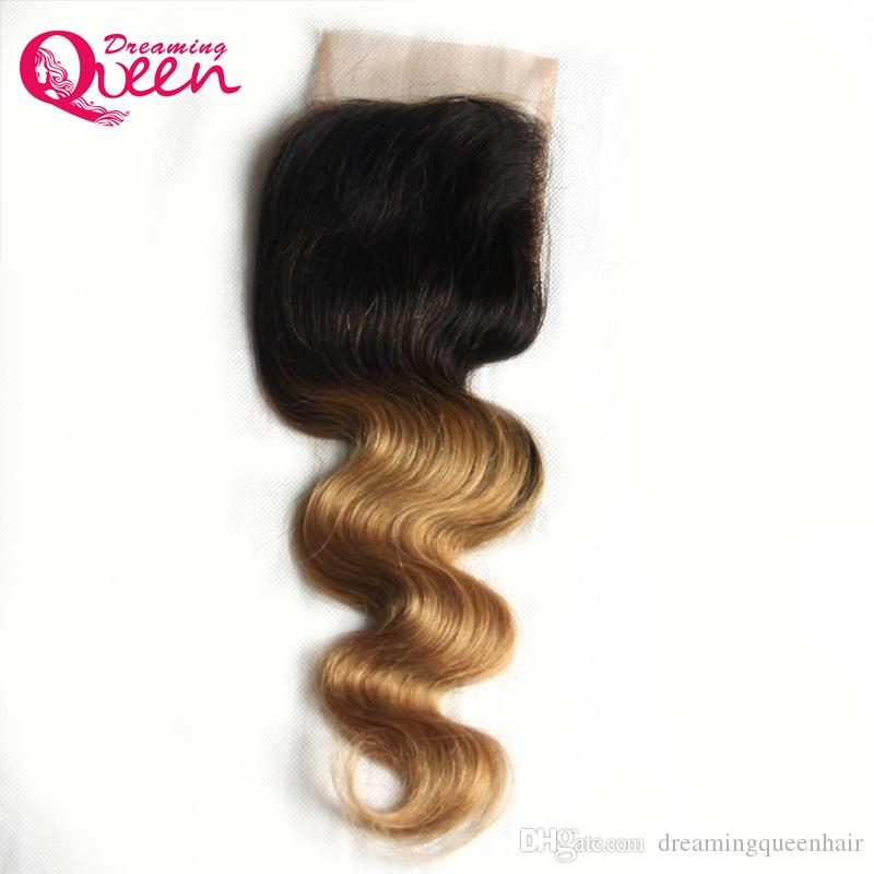 T1B 27 Honey Blonde Color Body Wave Lace Closure Brazilian Virgin Human Hair 4X4 Lace Closure With Baby Hair Ombre Lace Closure