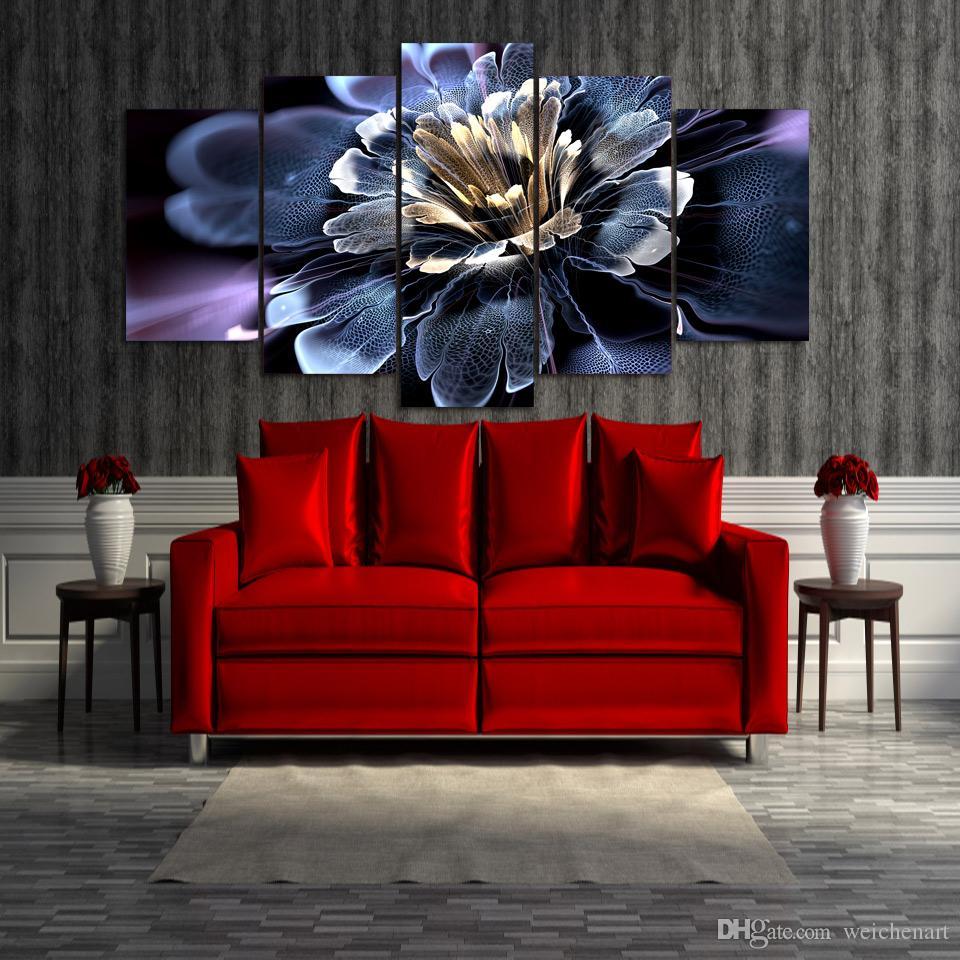 5 Unids / set Enmarcado HD Impreso Colorido lirio de agua flores pintura Pintura arte de la pared habitación decoración cartel impresión lienzo Envío gratis