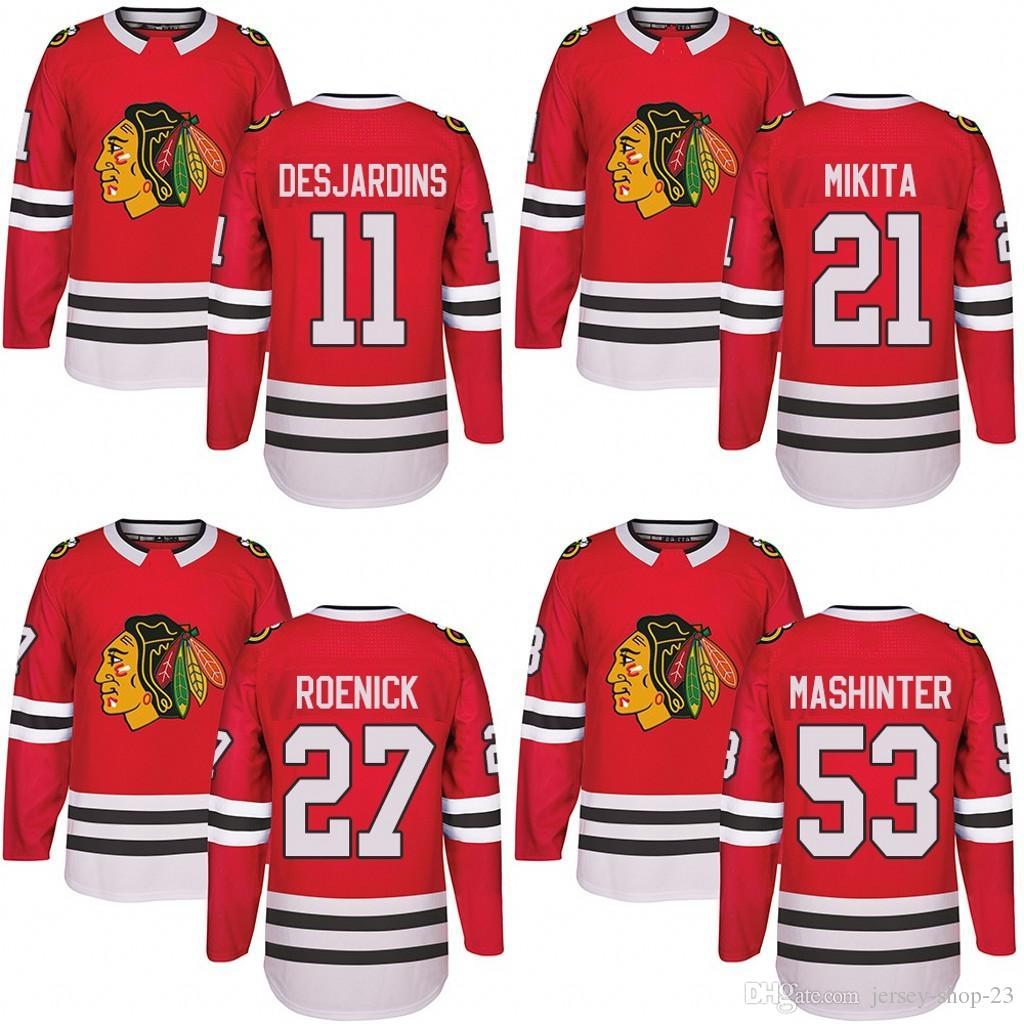 eabf665d17a online cheap customized mens 2017 2018 chicago blackhawks 11 andrew  desjardins 21 stan mikita 27 jeremy