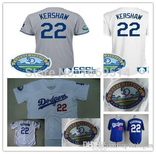 ff15bfe9a ... 2017 2015 New Fast Ship Los Angeles Dodgers Shirts 22 Clayton Kershaw  50th Anniversary Cool Base ...