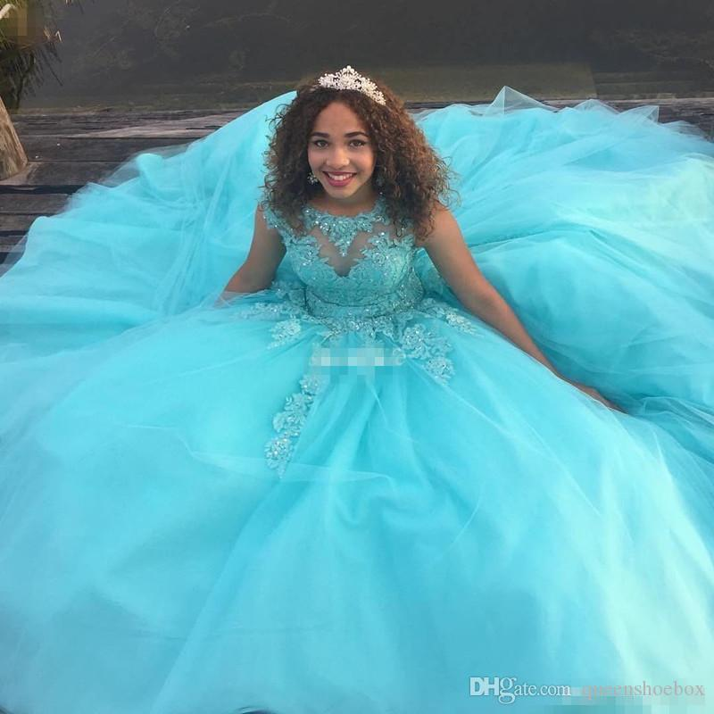 Custom Made Mint Green Girls Quinceanera Evening Dresses Open Back Corset Lace Sequins Tulle Cap 2017 Plus Size Sweet 16 Debutante Dress