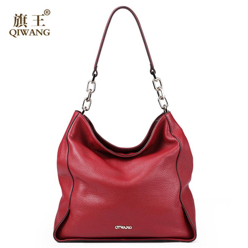 474690ff0a7f Wholesale Qiwang 2016 Fashion Good Leather Bag Luxury Brand Soft Womans  Good Leather Handbag Chain Shoulder Women Hobo Bag Purse With Logo Fashion  Bags ...