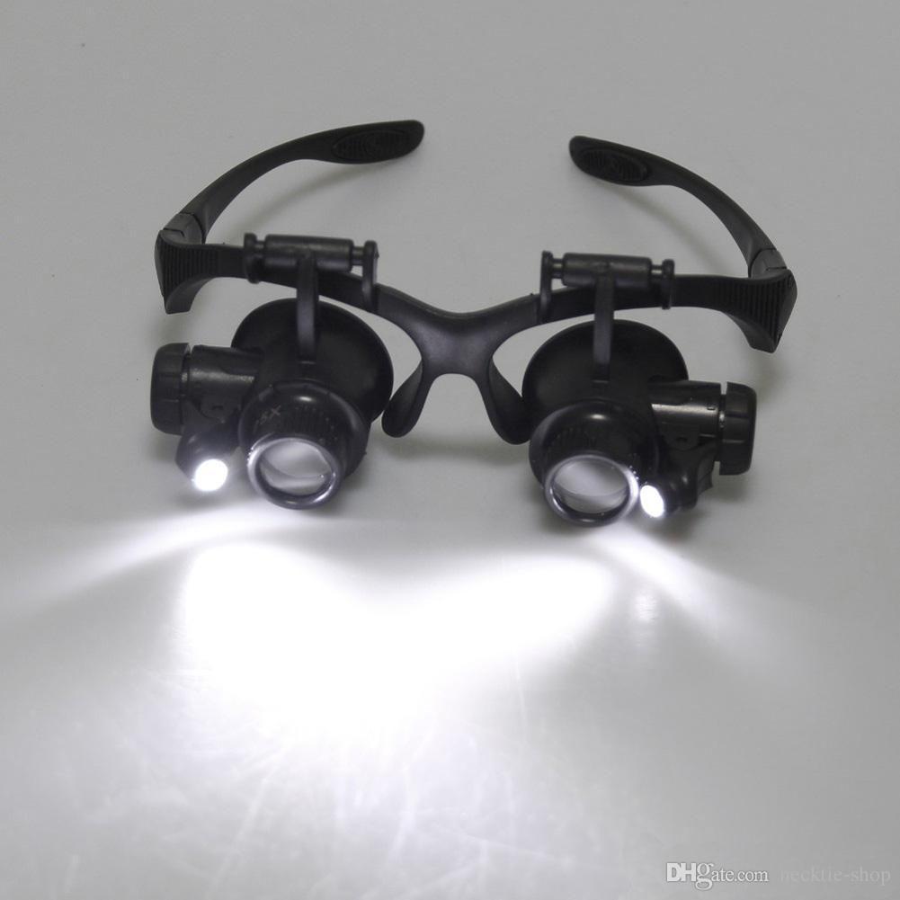 Chaude 10X 15X 20X 25X Loupe Verre Double LED Lumières Lunettes Lentille Loupe Loupe Jeweler Montre Outils de Réparation