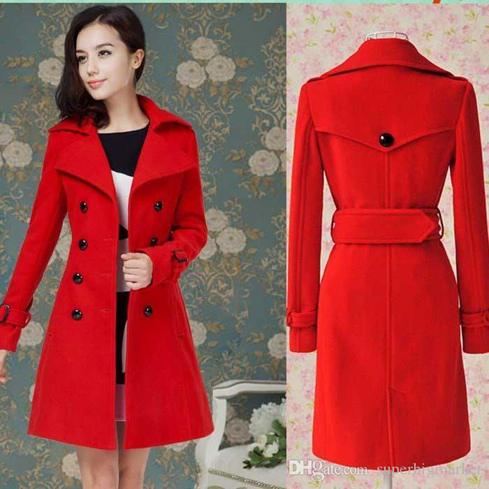 b7fdb6577ce 2019 Hot 2014 Fashion New Women S Ladies Celebrity Red Blue Slim Warm Winter  Coat Wool Woolen Jacket Outwear Long Trench Coats Pea Coats Belt Fre From  ...
