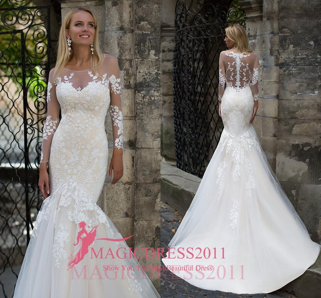 fe96e10270 Oksana Mukha Mermaid Wedding Dresses 2017 Sheer Neck Illusion Bodice Lace  Court Train Vintage Garden Beach Wedding Party Bridal Gowns Wedding Dress  Online ...