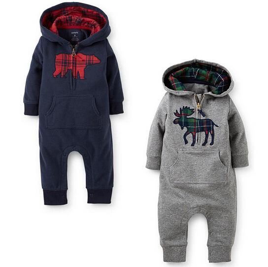 RMY30 NEW infant Kids Winter Romper Animals Style long sleeve Hooded baby warm Climb clothing boy girls Winter Rompers set