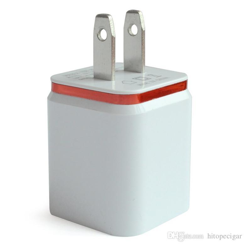 المعدن المزدوج الجدار شاحن USB الشحن الولايات المتحدة الاتحاد الأوروبي التوصيل 2.1A AC محول الطاقة شاحن الجدار التوصيل 2 ميناء لفون سامسونج غالاكسي ملاحظة LG اللوحي باد