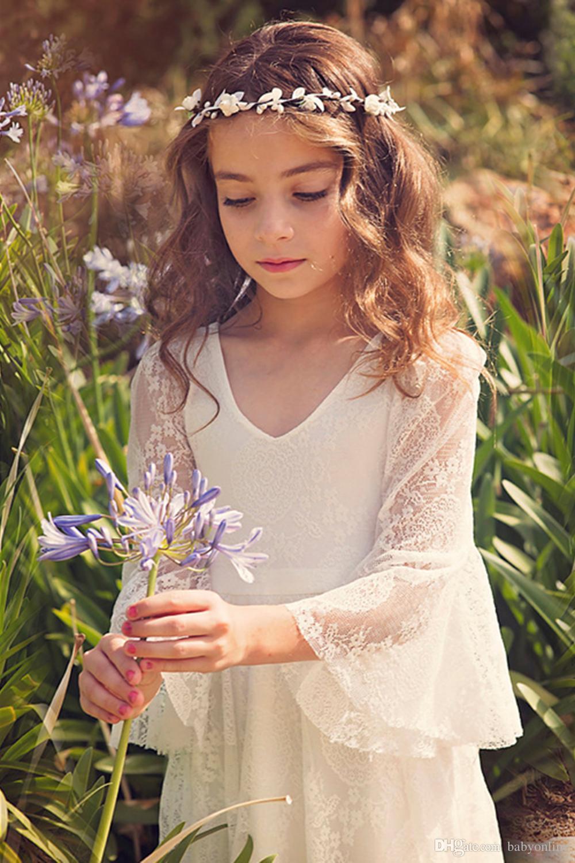 2019 New Bohemian V Neck Lace Flower Girl 'Abiti maniche lunghe piano Lunghezza Little Girls' abiti da festa di nozze Bow Sash MC0668