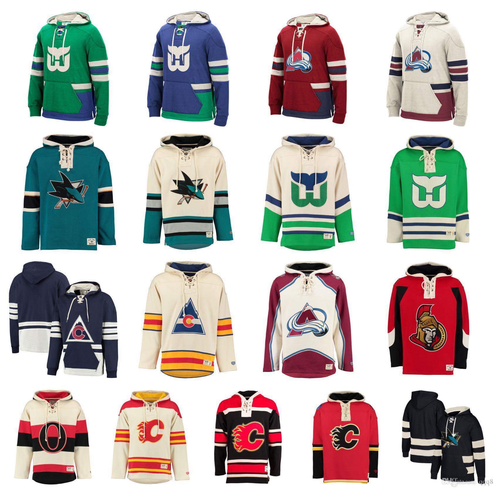 2019 Custom Hockey Hoodie Pullover Calgary Flames Hartford Whalers Colorado  Avalanche San Jose Sharks Ottawa Senators Stitched Name Number From Qqq8 3154d9763