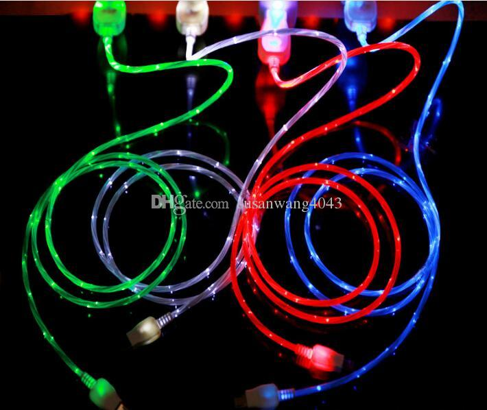 1M Visible Flowing LED Light Up Charging Cable type C Micro USB Charger Data Sync Cable For Smart Cell phones Tablet PC data cable USZ027