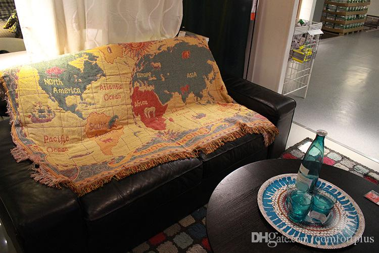 The World Map Flag Sunflower Pattern Etc More Size Thread Blanket Sofa  Cover Prevent Slippery Sets Of Cloth Art Sofa Cotton Knit Fabric Sofa  Biederlack ...