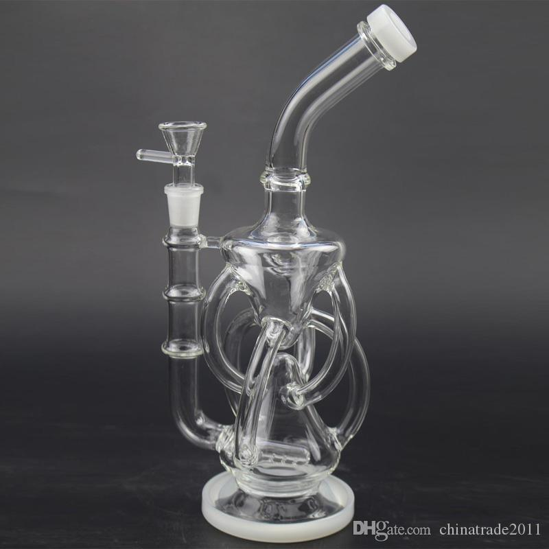 Double Recycler Oil Rigs Vortex Glass Bongs Water Pipes with Inline Gridded Perc 11 inch Hybrid Bubbler Rig Bent Neck Hookahs Beaker Bong